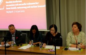 Lizette Risgaard (LO, Denmark), Pontus Sjöstrand (Visita, Sweden) Malin Ackholt (Hotell- och restaurangfacket, Sweden) Paula Mulinari (Malmö University, Sweden) and Seija Virta (Palvelualojen ammattiliitto, PAM, Finland)